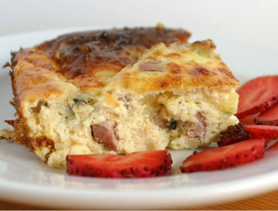 Egg, cheese, and ham bake