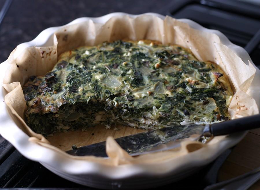 Slicing the mushroom spinach frittata