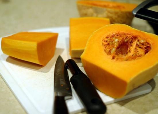 Slicing a butternut squash