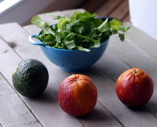 avocado, orange, arugula